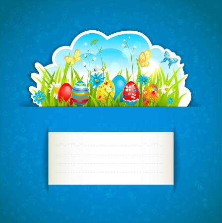 Easter background and egg in grass Stock Vector - 18705012