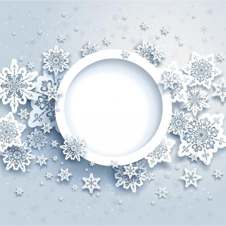 in winter: Disegno astratto inverno con i fiocchi di neve e lo spazio per il testo