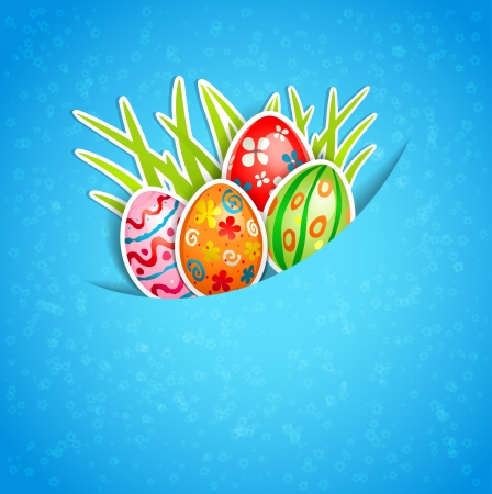 Easter blue background with egg and grass Stock Vector - 18705370
