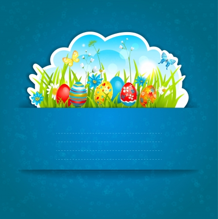 Easter blue background with space for text Vector