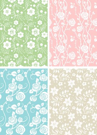 shabby chic: Floral patterns Illustration