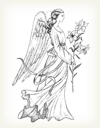 Dibujado a mano ángel con el lirio Ilustración de vector