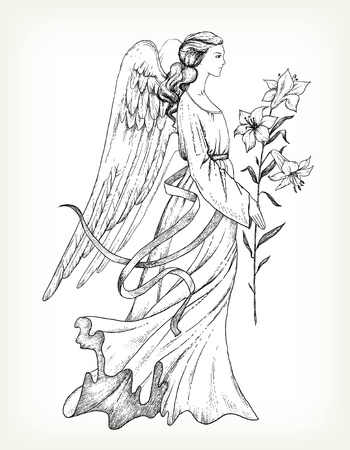 angel: Hand drawn angel with lily