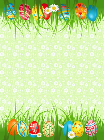 Background  with coloured eggs in a grass with space for text Vector