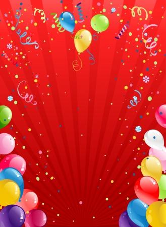 テキスト用のスペースと風船でお祝いの赤い背景