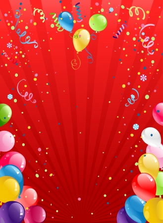 Viering rode achtergrond met ballonnen met ruimte voor tekst