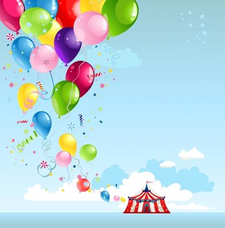 Carpa de circo y globos con espacio para texto Ilustración de vector