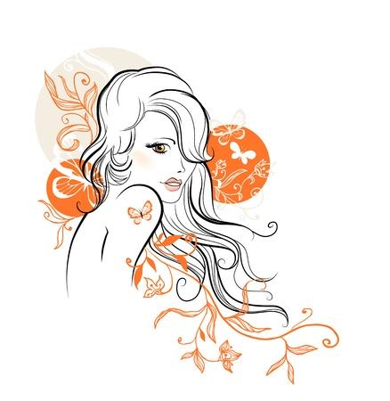 Beautiful floral girl Stock Vector - 20544506