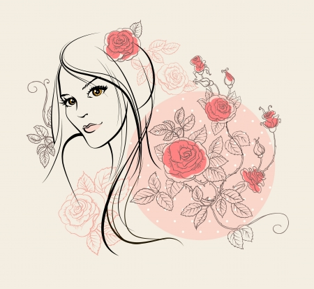 Beautiful girl with roses Stock Vector - 20544569