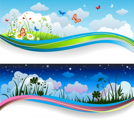 sunlight sky: Day and night summer banners Illustration
