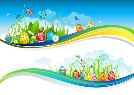 cute backgrounds: Banderas de Pascua con espacio para el texto