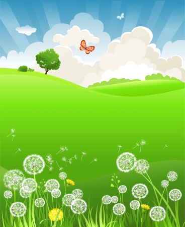 Summer landscape with dandelion Vector
