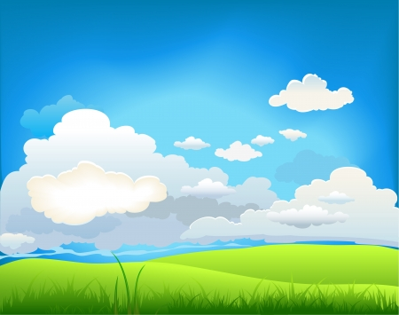 horizon over land: Summer landscape with beautiful clouds Illustration