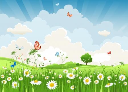 Пейзаж: Летний солнечный пейзаж Иллюстрация