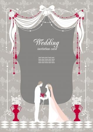 bröllop: Bröllop inbjudan med utrymme för text Illustration