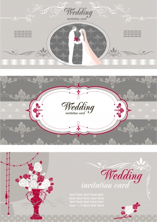 space for text: Invitaci�n de boda con espacio para texto Vectores