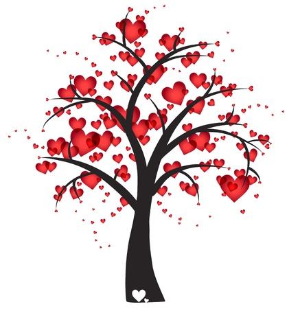 Árbol decorativo con corazones