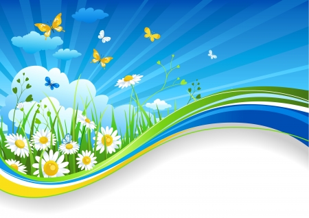 Summer banner with chamomiles and clouds Vector