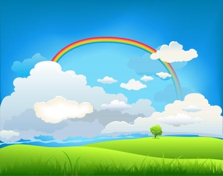 campestre: Paisaje de verano con un arco iris y el árbol solitario