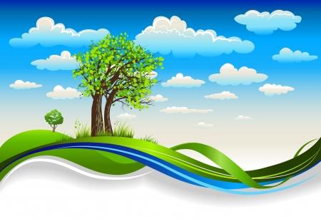 praterie: Bellissimi alberi sotto il cielo di primavera luminoso con nuvole Vettoriali