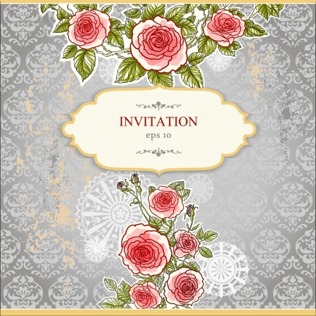 Floral invitation card  with copy space Stock Vector - 20544718