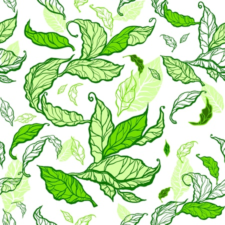 Green leaves seamless Stock Vector - 20544599