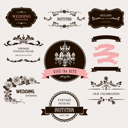 wedding invitation: Set of celebration frames and labels with vintage design.