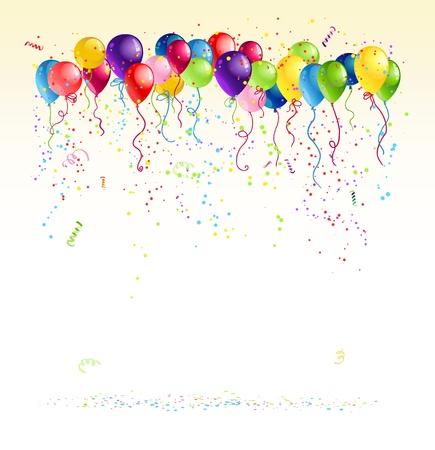 celebração: Os balões festivos com espaço para o texto