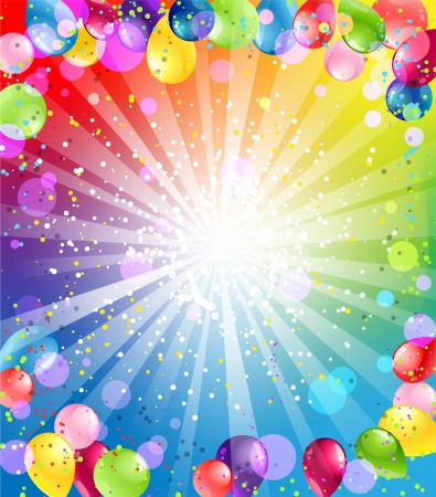 felicitaciones de cumplea�os: Fondo festivo con los globos