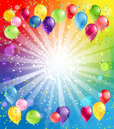birthday party: Festive background with balloons with space for text Illustration