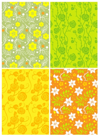 Four floral seamless patterns Stock Vector - 20544602