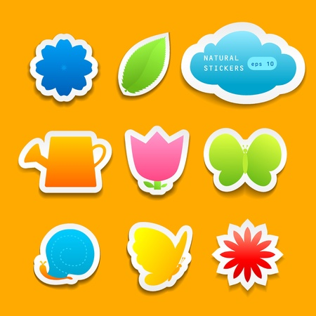 Set of natural stickers with space for text Stock Vector - 20544692