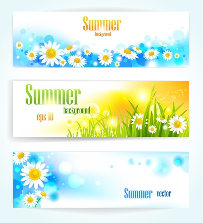 Set of positive floral banners with space for text Vector