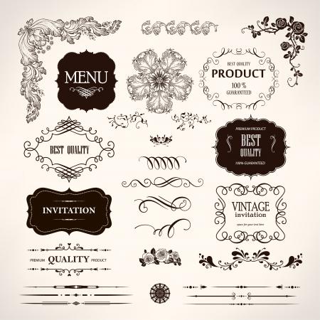 vendimia: Conjunto de elementos de diseño caligráfico y decoración de página Vectores