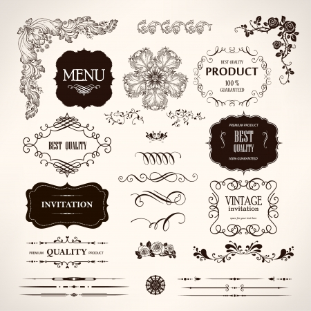 Set of design elements and calligraphic page decoration
