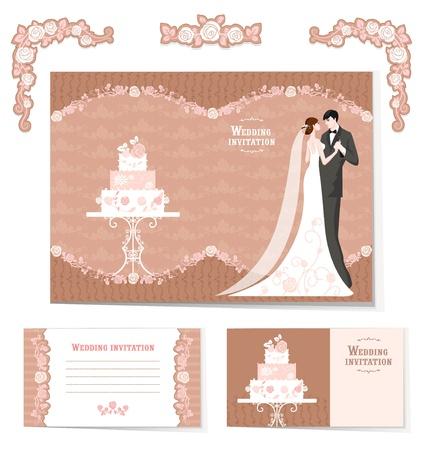 Hermoso juego de las invitaciones de la boda y elementos de diseño con espacio para el texto Ilustración de vector