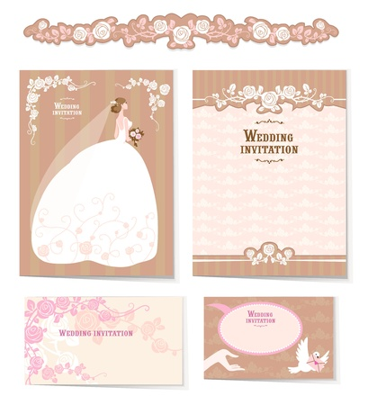 Beautiful set of wedding invitations and design elements with space for text Vector