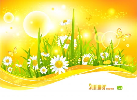 Sunny bright background with sunlight and flowers for your design Stock Vector - 20544684