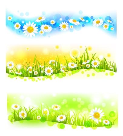 Three bright flower banners