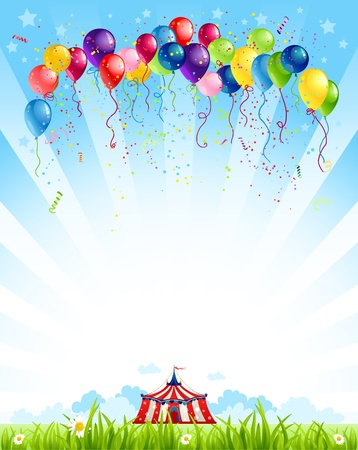 Traveling circus  under blue sky and bunch of balloons Ilustracja