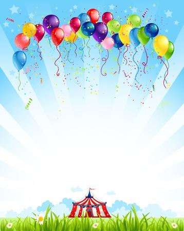 sommer: Wanderzirkus unter blauem Himmel und Bündel von Luftballons