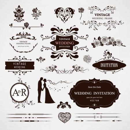 婚禮: 設計元素和書法頁面裝飾婚禮 向量圖像