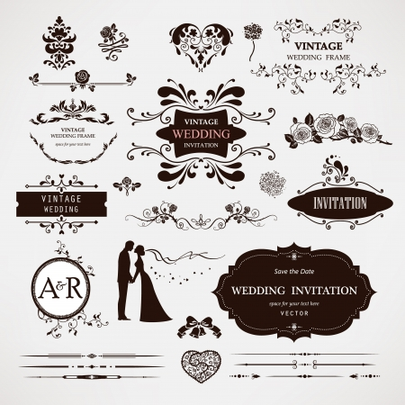 invitation card: elementos de dise�o caligr�fico y decoraciones de p�gina para la boda Vectores