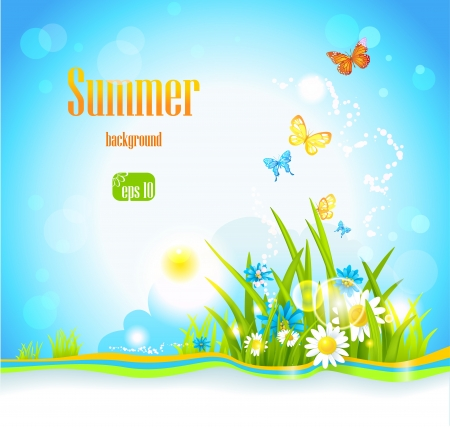 summer background  with flowers, sunlight and butterflies. Space for text. Stock Vector - 20544674