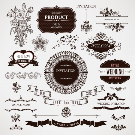 vintage label: wedding design elements and calligraphic page decoration