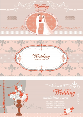Set of wedding invitations  with space for text Vector