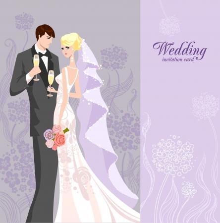 nozze: Invito a nozze con la sposa e lo sposo Vettoriali