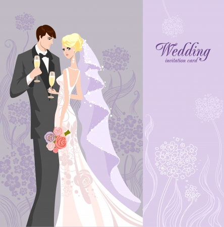 a wedding: Wedding invitation with bride and groom