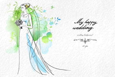 aquarel: Wedding watercolor background with beautiful bride