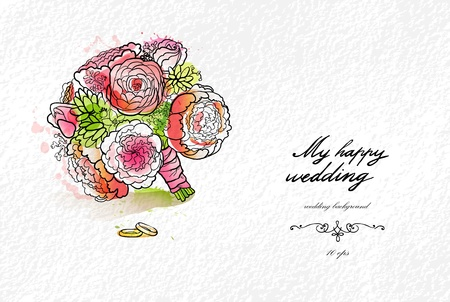 aquarel: Wedding watercolor bouquet and rings with space for text